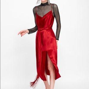 Zara red slip dress